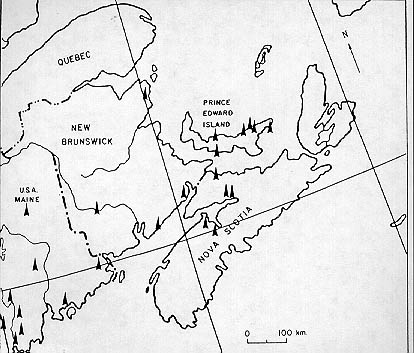 Une carte du Canada maritime montrant les sites de découvertes paléo-indiennes.