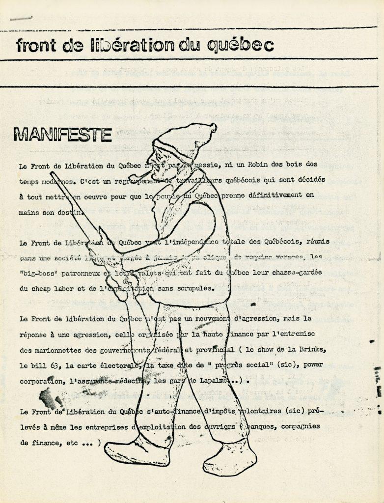 Première page du Manifeste du FLQ, diffusé à Radio-Canada en octobre1970.