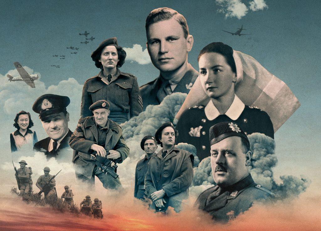 Membres de l'armée sur un fond de nuages