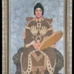Dessin de Langdon Kihn représentant Juliette Gaultier de la Vérendrye. Elle porte un manteau confectionné à la fin du 19e siècle