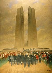 Tableau peint par Georges Bertin Scott du roi Édouard VIII lors du dévoilement du Monument commémoratif de Vimy.