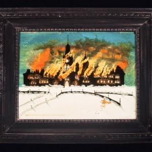 Huile sur toile représentant l'incendie sur la Colline du Parlement, le 3 février 1916 (artiste inconnu), Musée canadien de l'histoire, 93-698, IMG2016-0016-0001-Dm