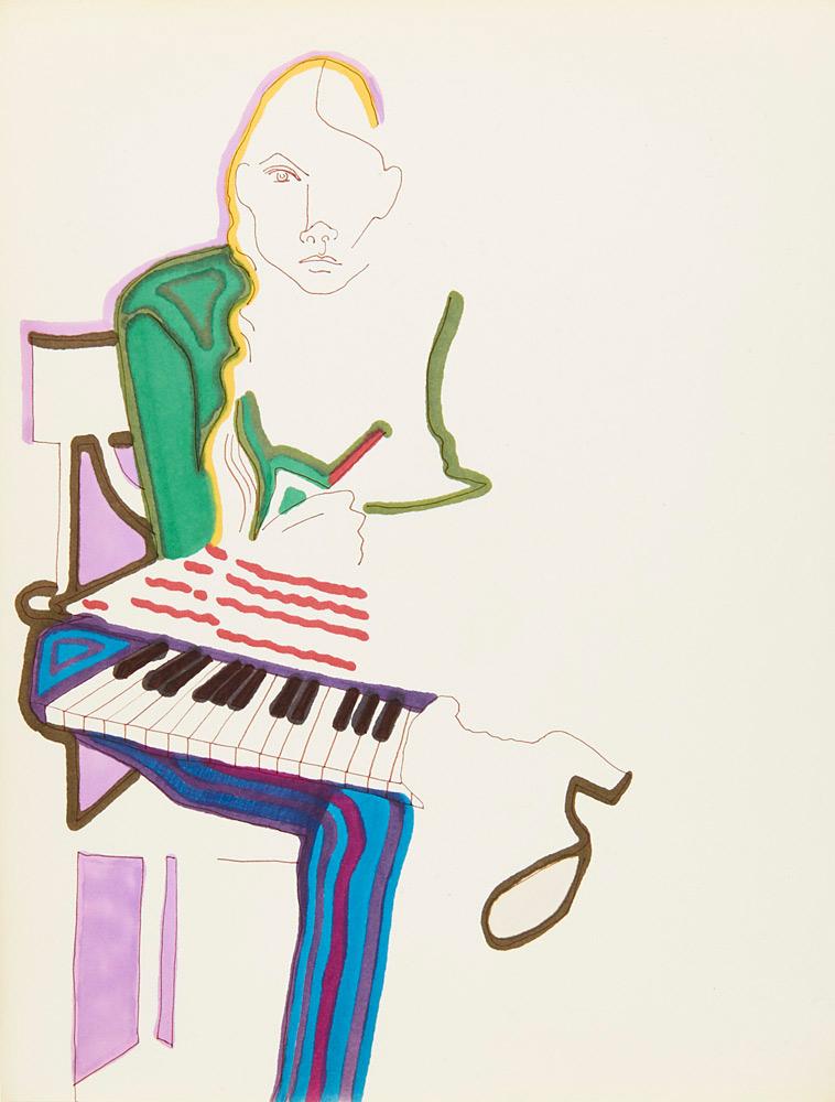 Autoportrait de Joni Mitchell avec clavier