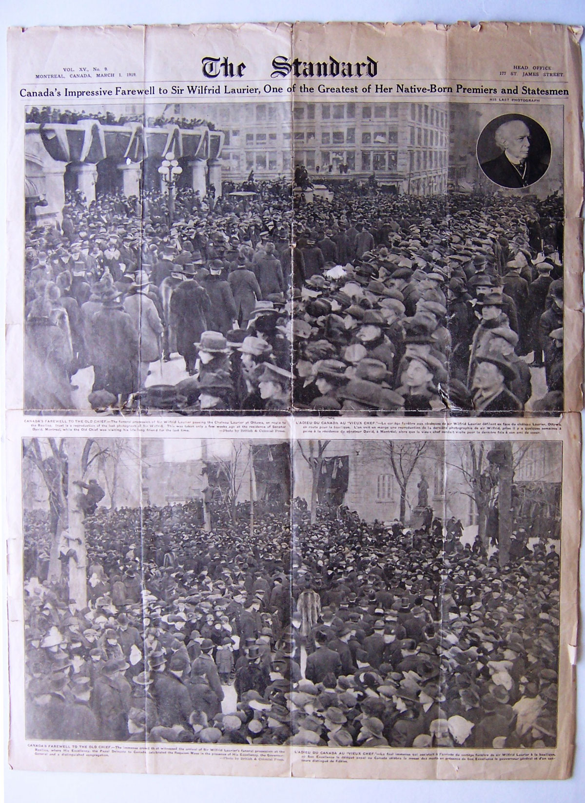 Special edition of The Standard, March 1, 1919, featuring photographs from Laurier's funeral. Canadian Museum of History, ACQ 2012.17, temporary no. 217.2r. Gift of Serge Joyal. Photo: Xavier Gélinas, 217.2r
