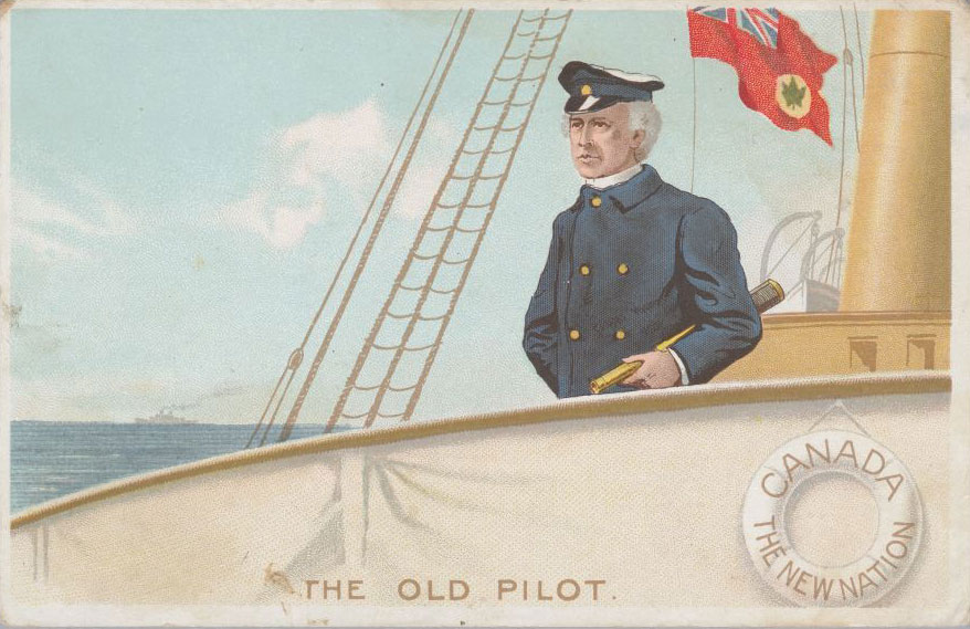 "Postcard: ""The Old Pilot ‒ Canada ‒ The New Nation,"" undated. Canadian Museum of History, 2012-H0040.78. Gift of Serge Joyal."