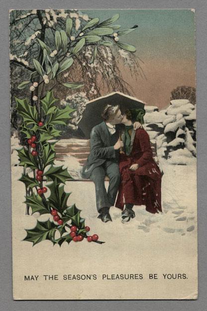 Carte postale de New York où l'on peut lire : « May The Season's Pleasures Be Yours » [Nous vous souhaitons de goûter aux plaisirs des Fêtes]. Musée canadien de l'histoire, 2003.75.27