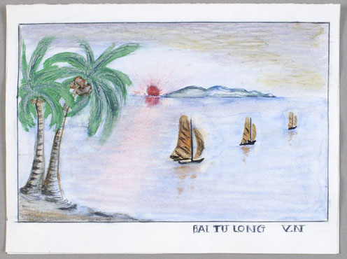Carte du Vietnam où l'on peut lire au recto : « Bai Tu Long V.N » [baie d'Along]; et au verso : « Season's Greetings, Go Wish Your Family Every Happiness New Year. God Bless. » [Joyeuses Fêtes! Meilleurs vœux de bonheur à votre famille en ce Nouvel An. Que Dieu vous bénisse!]. Musée canadien de l'histoire, 84-441