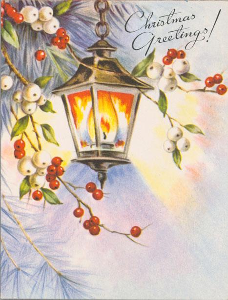 Carte de Noël de Toronto où l'on peut lire au recto : « Christmas Greetings! » [Vœux de Noël!]; et à l'intérieur : « May Christmas Be/A Merry Day.../May The Year Be Bright/In Every Way! » [Que Noël soit un jour joyeux... Que le Nouvel An soit lumineux!]. Musée canadien de l'histoire, 2008.58.19