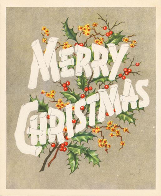 Carte de Noël d'Edmonton où l'on peut lire au recto : « Merry Christmas » [Joyeux Noël]; et à l'intérieur : « Happy New Year/Marvel Murphy/12527-89 St. Edmonton, Alta. » [Bonne année, Marvel Murphy,12527, 89e Rue, Edmonton, Alberta]. Musée canadien de l'histoire, 2008.58.22