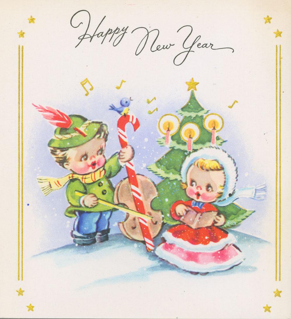 Carte du Nouvel An du Canada où l'on peut lire au recto : « Happy New Year » [Bonne année]; et à l'intérieur : « May The Old Year End/And The New Year Start/With Joy and Gladness/In your Heart/May the Greatest Joys/You've Had Before/Be Multiplied/By Many More » [Que la dernière année s'écoule et la nouvelle année commence dans la joie et l'allégresse! Que le plus grand bonheur encore jamais vécu puisse éclore au centuple en votre cœur!]. Musée canadien de l'histoire, 2008.58.28.2