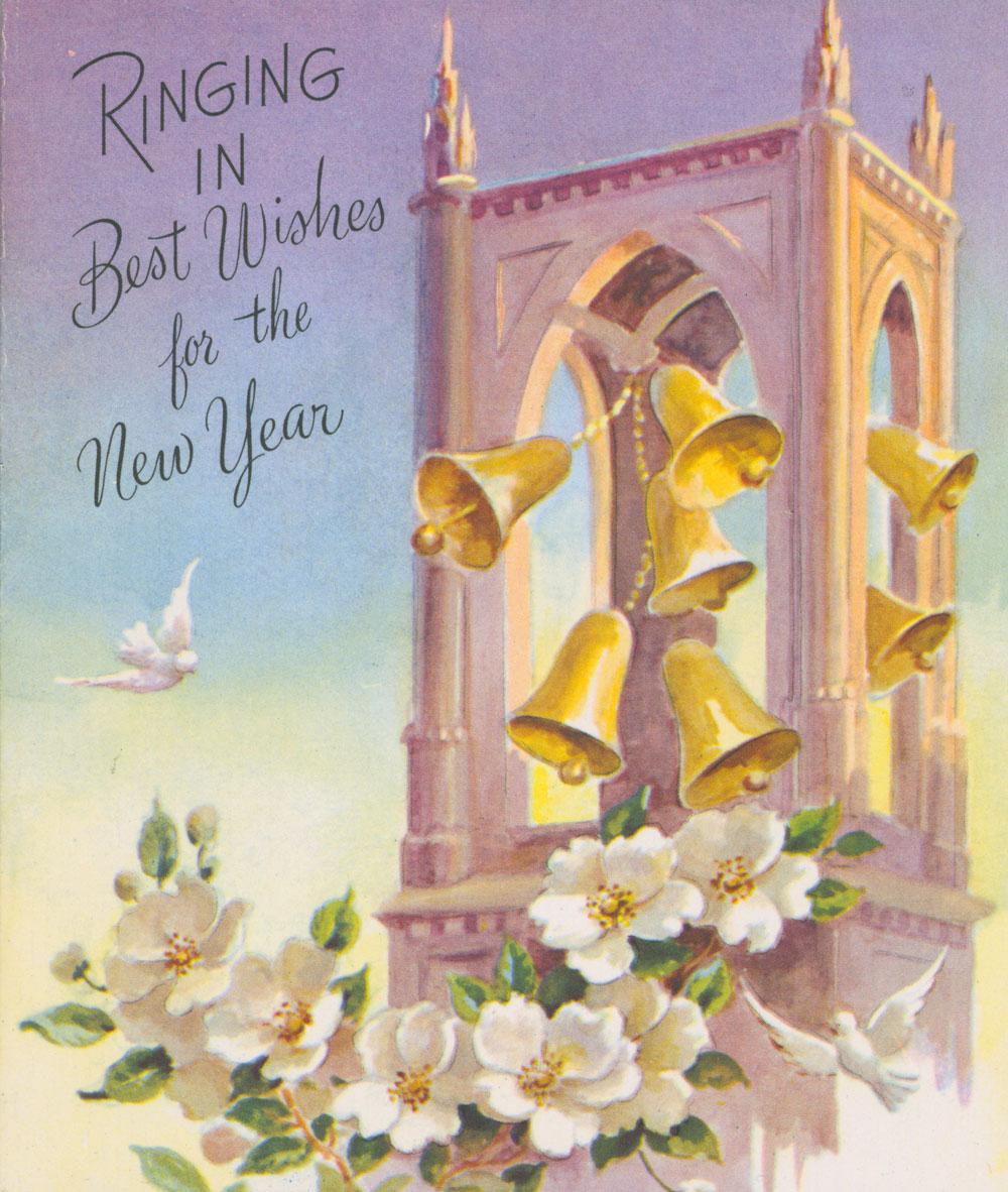 """Carte du Nouvel An de Toronto où l'on peut lire au recto : « Ringing in Best Wishes for the New Year » [Que résonnent nos meilleurs vœux pour la nouvelle année]; et à l'intérieur : « When the bells/and the whistles/Ring out with good cheer/And the sirens announce/That the New Year/is here.../May they """"ring in""""/for you/Lots of joy and success,/Accomplishment, friendship,/And real happiness! » [Que sonnent les cloches et retentissent les chants joyeux! Que les sirènes annoncent le Nouvel An! Que ce gai tintamarre résonne et vous transmette nos vœux de joie, réussite, réalisations, amitié et véritable bonheur!]. Musée canadien de l'histoire, 2008.58.31"""