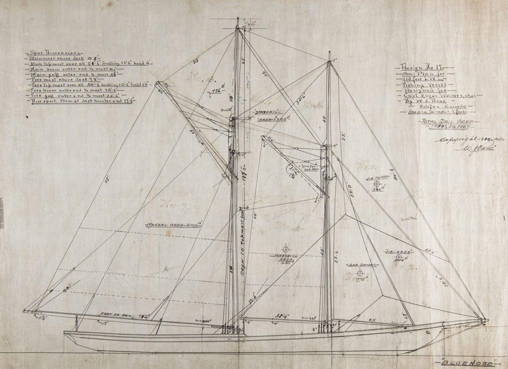 Ce plan montre la disposition de la fameuse et spectaculaire voilure du Bluenose. Collection William James Roué, Musée canadien de l'histoire, 2016-H0034.17.2, IMG2016-0300-0001-Dm ©JER/WJRoue.ca. Avec droit d'utilisation.