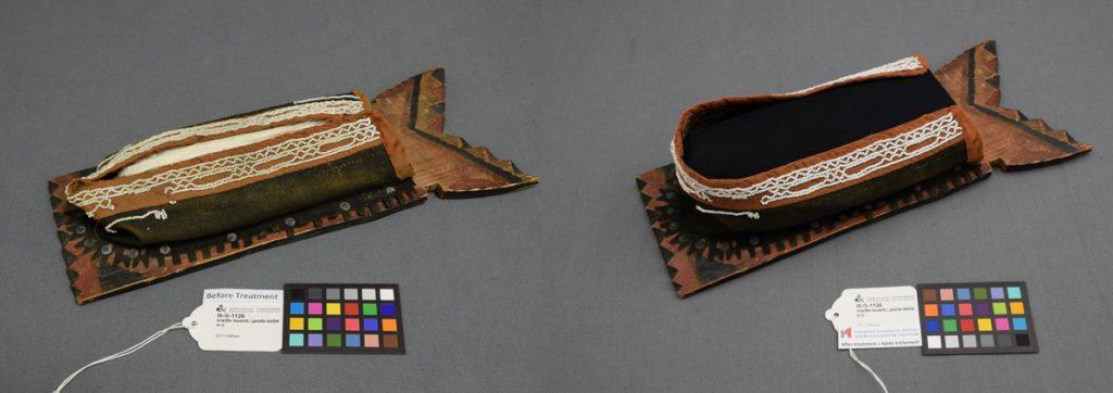 La planche porte-bébé avant et après le processus de conservation. Photo : Musée canadien de l'histoire