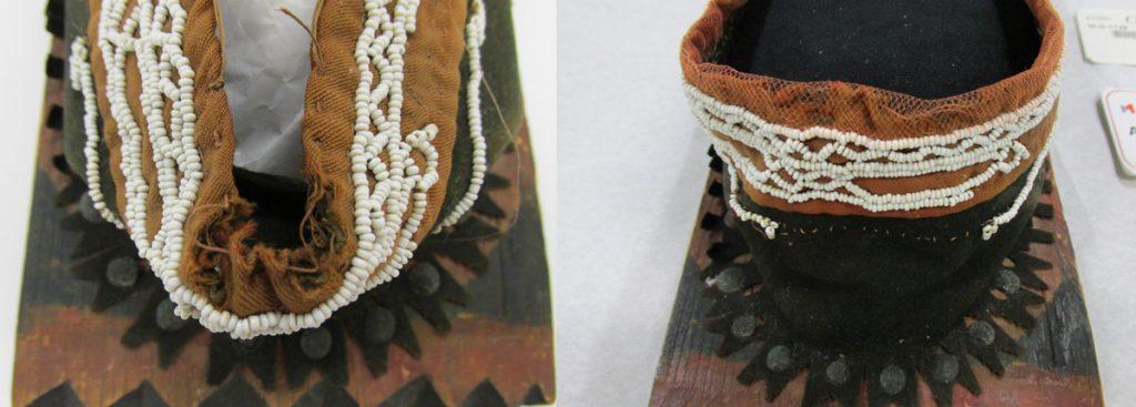 Détail du ruban avant et après restauration. Photo : Musée canadien de l'histoire