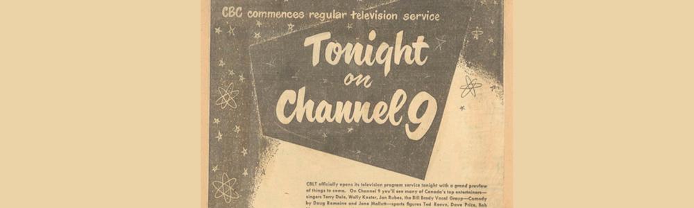 Publicité pour la première télédiffusion de la CBC