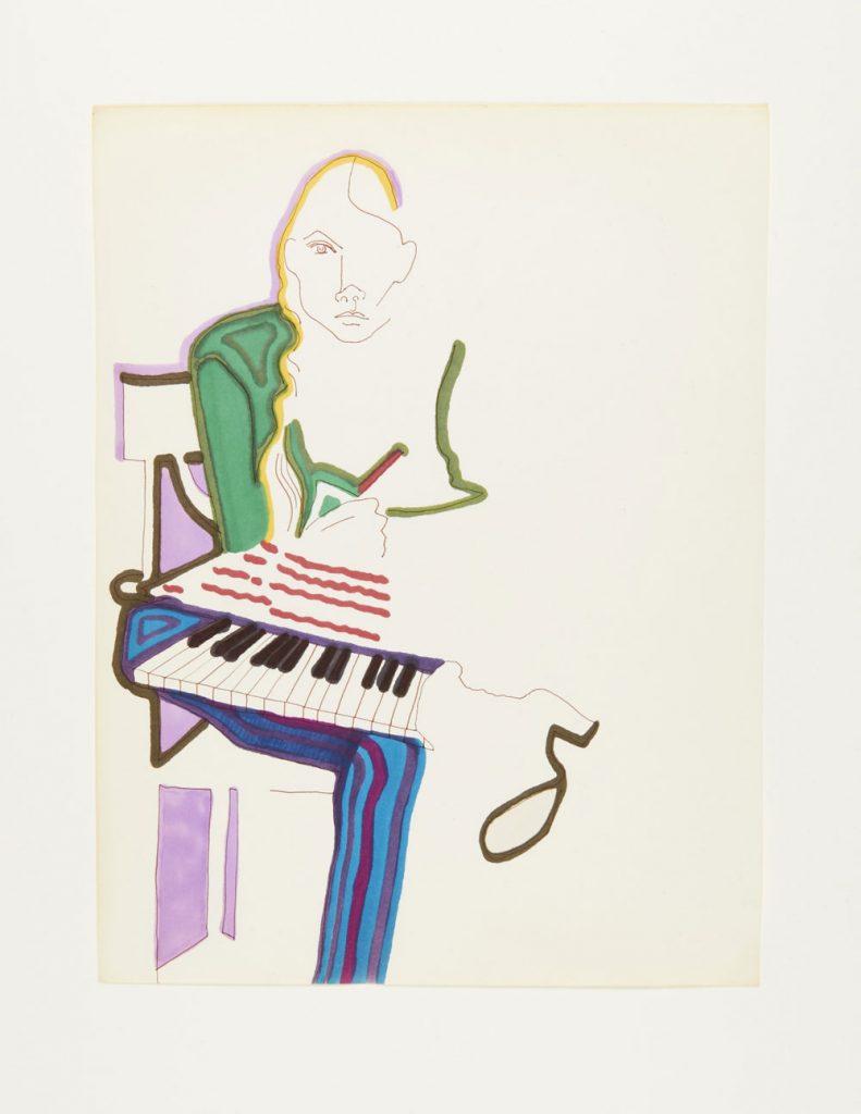 Autoportrait de Joni Mitchell avec clavier, dessin original, encre et crayon-feutre, 355 x 270 mm, vers 1969 IMG2015-0144-0025-Dm