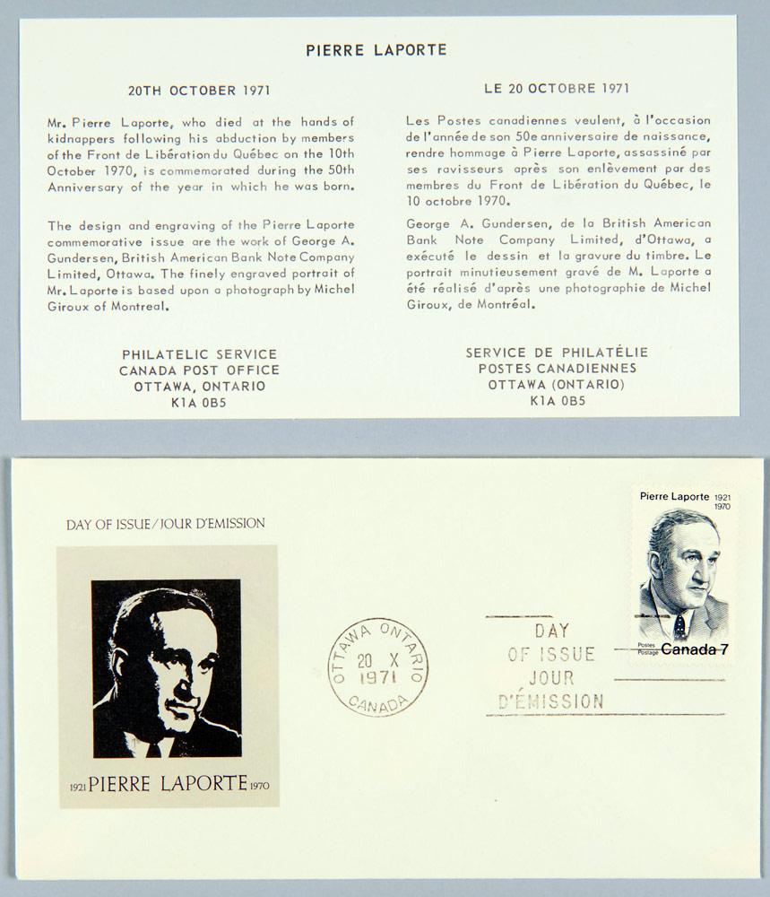 Pli Premier Jour à la mémoire de Pierre Laporte, Postes Canada, 1971. Musée canadien de l'histoire, Archives photographiques, IMG2016-0076-0001