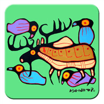 Norval Morrisseau Coasters - Moose Harmony:: Sous-verres Norval Morrisseau - Moose Harmony