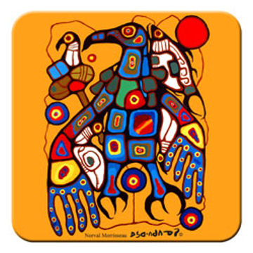 Norval Morrisseau Coaster - Man Changes into Thunderbird:: Sous-verres Norval Morrisseau - Man Changes into Thunderbird