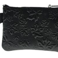 Coin Purse Maple Leaves Black:: Bourse feuille d'