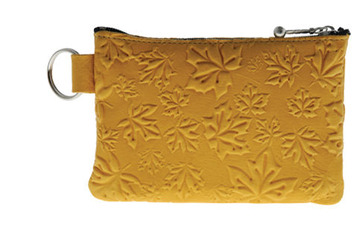 Coin Purse Maple Leaves Tan:: Bourse feuille d'