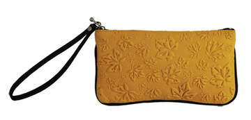 Wristlet Maple Leaves Tan:: Sac bracelet feuille d'