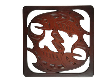 Salmon Mini Trivet in Recycled Fiber Glass:: Mini sous-plat saumon en fibre de verre recycl