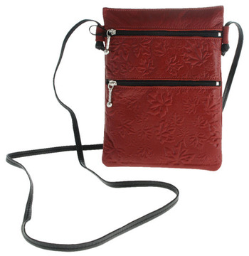 Passport Pouch Maple Leaves Red:: Pochette de passeport feuille d'