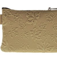 Coin Purse Maple Leaves Beige:: Bourse feuille d'
