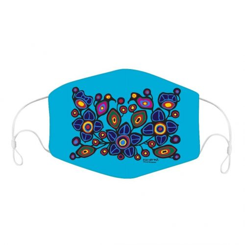 Face Mask - Flowers and Birds by Norval Morrisseau