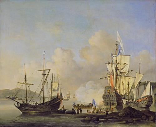 Navires marchands français à l'ancre, vers 1670