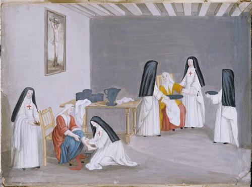 Religieuses soignant des malades