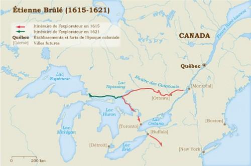Itinéraires d'Étienne Brûlé, premier français à pénétrer les « Pays d'en Haut ».