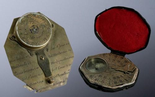 Cadran solaire et boussole de poche, vers 1750