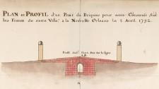 Plan et profil d'un pont de Briques pour estre construit sur les fossez de cette ville, à la Nouvelle Orléans le 2 avril 1732, signé Broutin (détail)