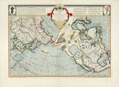 Carte des nouvelles découvertes au nord de la mer du Sud tant à l'est de la Sibérie et du Kamtchatka qu'à l'ouest de la Nouvelle-France