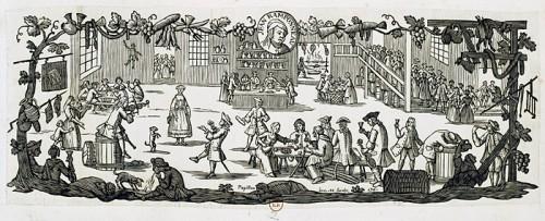 Le cabaret de Jean Ramponneau, 1761, par Jean Michel Papillon, graveur