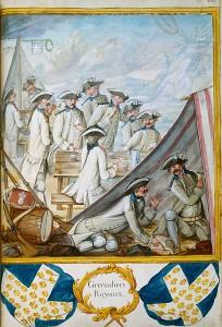 Grenadiers avec cartes et dés, Tiré d'un manuscrit intitulé : Troupes du Roi, Infanterie française et étrangère, année 1757, tome I, Pl. 108