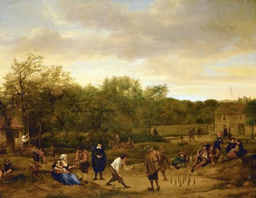 « Paysans jouant aux quilles » du peintre néerlandais Jan Steen, vers 1650.