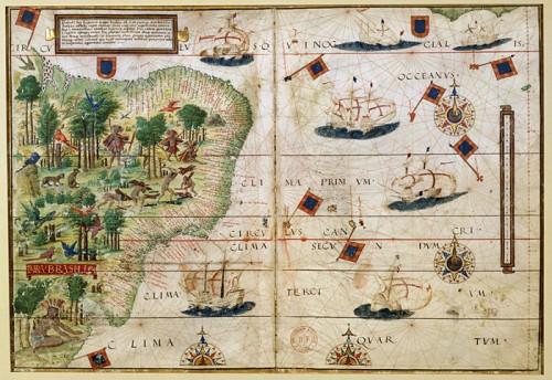 Carte de l'Océan Atlantique sud-ouest et du Brésil par Lopo Homem