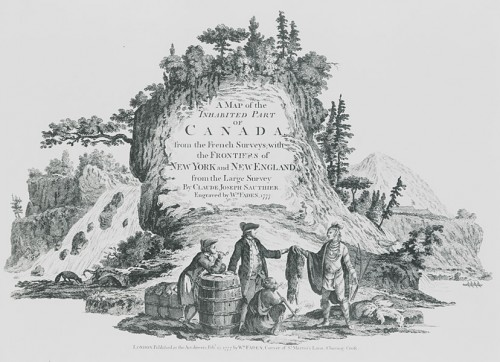 Marchand traitant avec un Indien, détail du frontispice: A map of the Inhabited Part of Canada…, William Fadden, 1777