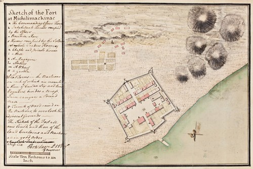 Plan du Fort Michilimackinac par Magra Perkins, 1765