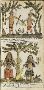 Indiens avec armes anciennes et françaises, 1744, par J.-F. Benjamin Dumont de Montigny