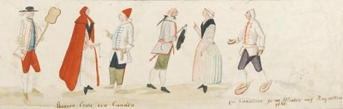 Vue de détail des études d'habitants et d'Indiens, anonyme, vers 1780