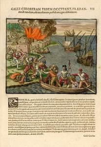 Attaque de la ville de Chioreram, 1595, par Theodor de Bry