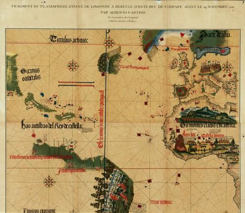 Carta da navigar per le Isole nouam… in le parte de l'India, fac-similé d'un fragement du planisphère envoyé à Alberto Cantino en 1502, l'original est à la Bibiotheca Estense, Modène