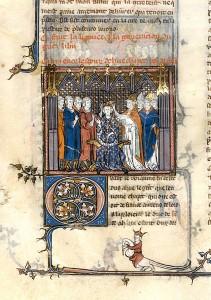 Couronnement de Hugues Capet, 1er quart du 14e siècle, tiré des Grandes Chroniques de France