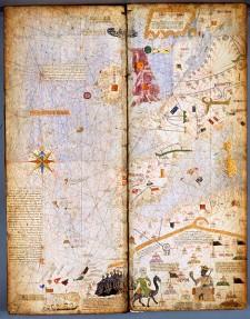 Mappemonde de l'Atlas catalan, 1375, par l'enlumineur Abraham Cresques