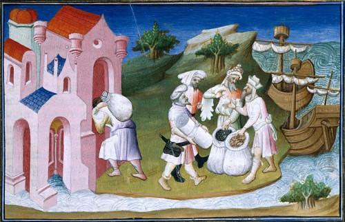 Marchands sur le Fleuve Jaune, vers 1410-1412, par l'enlumineur le Maître d'Ergeton