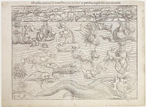 Monstres marins et terrestres, 1556, par Sebastian Müster